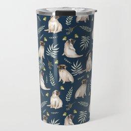 Pugs and butterflies. Blue pattern Travel Mug