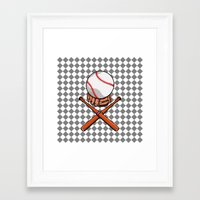 baseball Framed Art Prints featuring Baseball by mailboxdisco