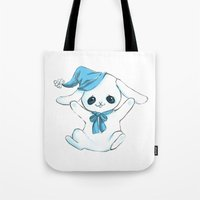 cuddle Tote Bags featuring Cuddle Bunny by Cat in the Box