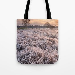 Frosted heather at sunrise in winter in The Netherlands Tote Bag