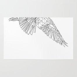 Black and white geometric bird Rug