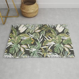 Dark watercolor jungle 1 Rug