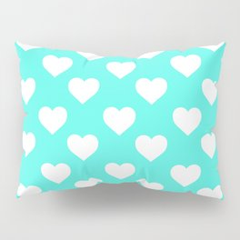 Hearts (White & Turquoise Pattern) Pillow Sham
