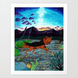 Desert Night with Vampire-Coyote Art Print