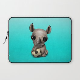 Cute Baby Rhino With Football Soccer Ball Laptop Sleeve