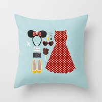 minnie mouse Throw Pillows featuring Minnie Mouse Flatlay by laurenschroer