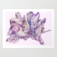 crystals Art Prints featuring Crystals by my first palette