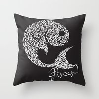 pisces Throw Pillows featuring pisces by freebornline