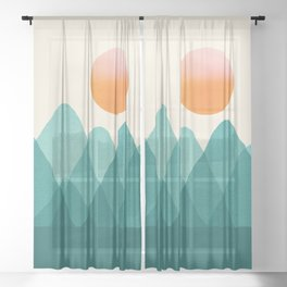 Abstraction_Mountains_SUNSET_Landscape_Minimalism_003 Sheer Curtain