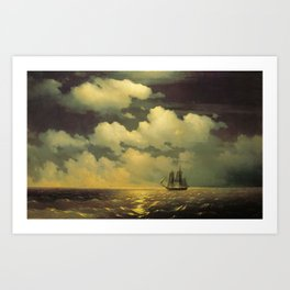 Meeting of the Brig Mercury with the Russian Squadron After the Defeat of Two Turkish Battleships by Ivan Aivazovsky Art Print