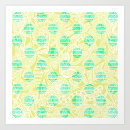 Yellow Ornate Abstract with Circles Art Print