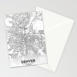 Minimal City Maps - Map Of Denver, Colorado, United States Stationery Cards
