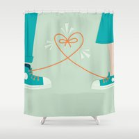sneaker Shower Curtains featuring Sneaker Love by Walker Ballantyne - Hill