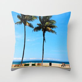 palm beach couple Throw Pillow
