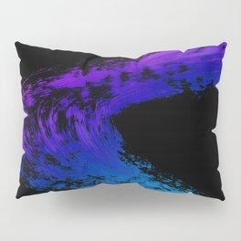 Fuchsia to Sky Blue Brush Drip Abstract Painting on Black Pillow Sham