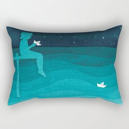 Boy with paper boats, watercolor teal art Rectangular Pillow