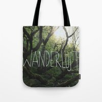 wanderlust Tote Bags featuring Wanderlust by Leah Flores