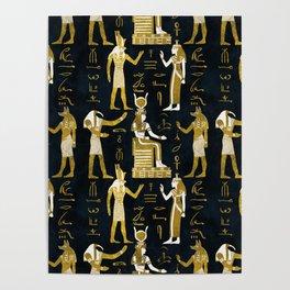 Egyptian Gods Gold and white on dark glass Poster