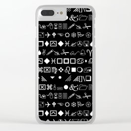 Wingdings Symbols Black Background White Font Clear iPhone Case