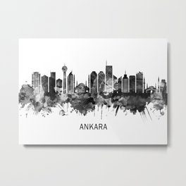 Ankara Turkey Skyline BW Metal Print