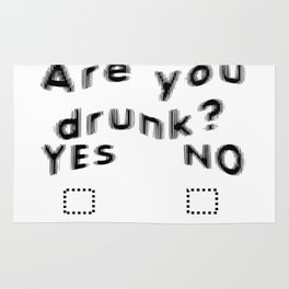Are You Drunk Test For Partygoers Black Text Rug