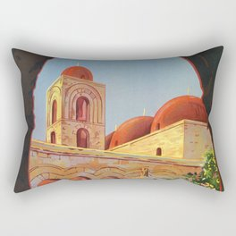 vintage 1920s Palermo Sicily Italian travel ad Rectangular Pillow