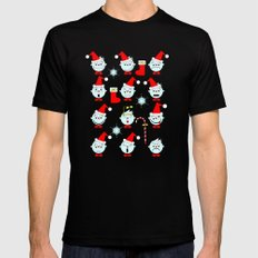 Funny Christmas faces MEDIUM Black Mens Fitted Tee