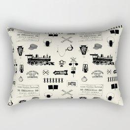 Railroad Symbols // Beige Rectangular Pillow
