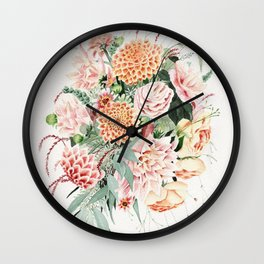 Fall Dahlia Bouquet Wall Clock