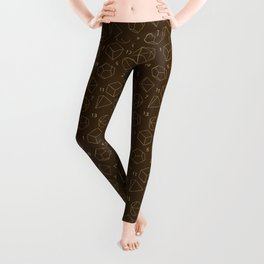 Outline of Dice in Gold + Brown Leggings