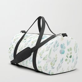 Pastel green teal hand painted watercolor leaves floral Duffle Bag