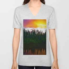 Summer Sun Almost Sets in Alaska Unisex V-Neck