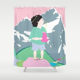 The boy and the mountain pig Shower Curtain