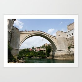 Mostar Bridge Jumper Art Print