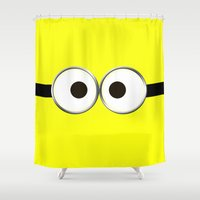 minion Shower Curtains featuring minion by cbrocoff