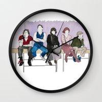 breakfast club Wall Clocks featuring The Breakfast Club by DJayK