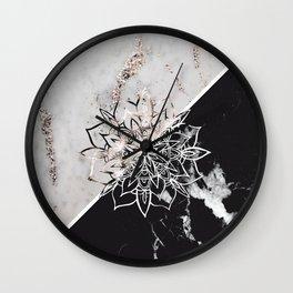 Yin Yang Mandala on Marble #1 #decor #art #society6 Wall Clock