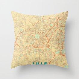 Lille Map Retro Throw Pillow