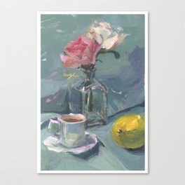 roses and tea Canvas Print