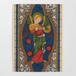 Stained Glass Angel from Temple Church London 1400 Poster