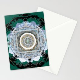 Deep Teal Tibetan Healing Mandala Hybrid Spanish Boho Stamp Stationery Cards