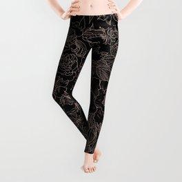 Pink coral tan black floral illustration pattern Leggings