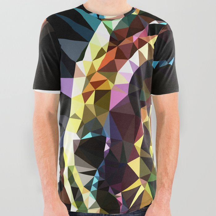 Unicorn fish low poly All Over Graphic Tee
