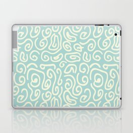Off white and mint green abstract swirls pattern Laptop & iPad Skin