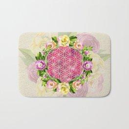 Flower of life in watercolor flower wreath Bath Mat