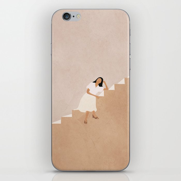 Girl Thinking on a Stairway iPhone Skin
