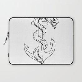 Rattlesnake Coiling on Anchor Drawing Laptop Sleeve