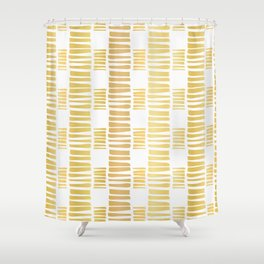 Luxe Gold Stripes Confetti Hand Drawn Vector Pattern Background Shower Curtain