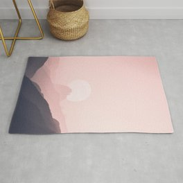 Gray Pink Gradient Mountain Range Rug