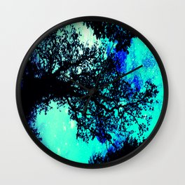 Black Trees Turquoise Teal Space Wall Clock
